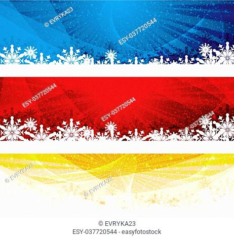 Abstract winter 3 color snowflakes banner background blue red gold