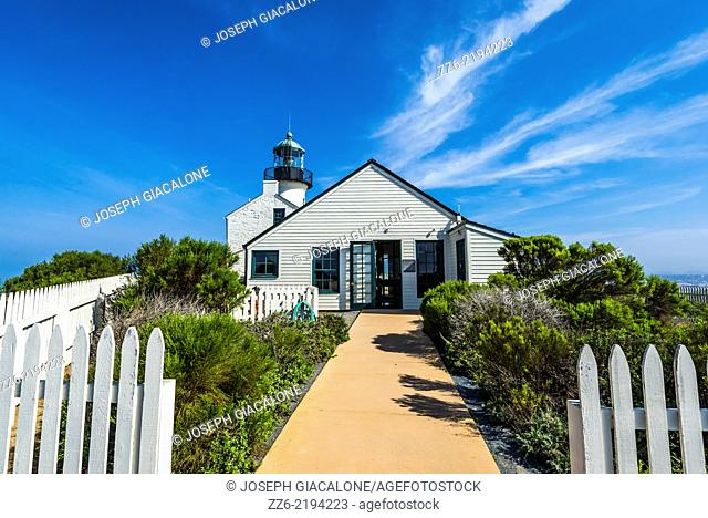 Old Point Loma Lighthouse at the Cabrillo National Monument. San Diego, California, United States