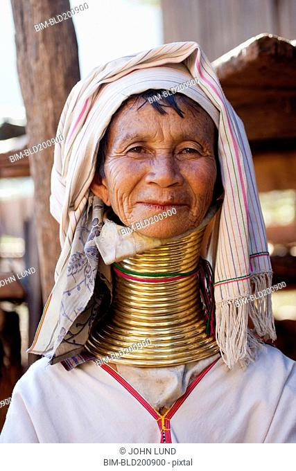 Burmese woman with tall, traditional neck rings