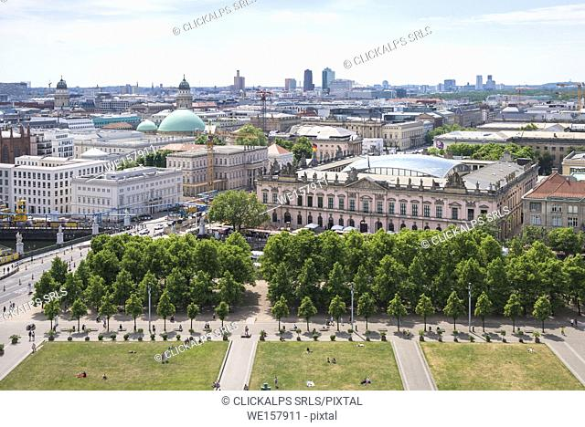 The Lustgarten and Zeughaus from the roof of Berliner Dom, Berlin, Germany, Europe