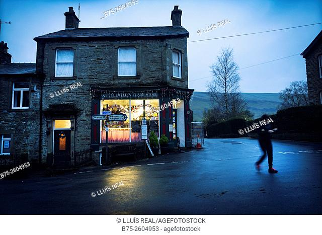 Kettlewell Village Store facade at sunset. Kettlewell, Skipton, North Yorkshire, Yorkshire Dales, England, UK, Europe