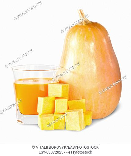 Pumpkin And A Glass Of Pumpkin Juice Isolated On White Background