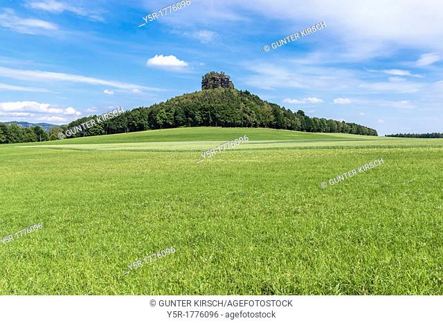 View to the Zirkelstein rock. The Zirkelstein is the smallest table mountain in the national park Saxon Switzerland It is a wooded