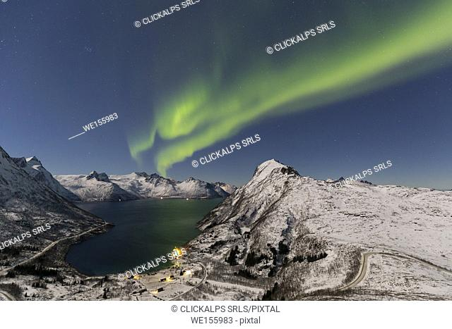 Northern lights at Mefjordbotn,Berg,Senja,Norway,Europe