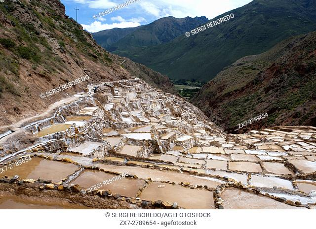 General view of the Sacred Valley near Cuzco from the salt mines of Maras. The Sacred Valley of the Incas or the Urubamba Valley is a valley in the Andes of...