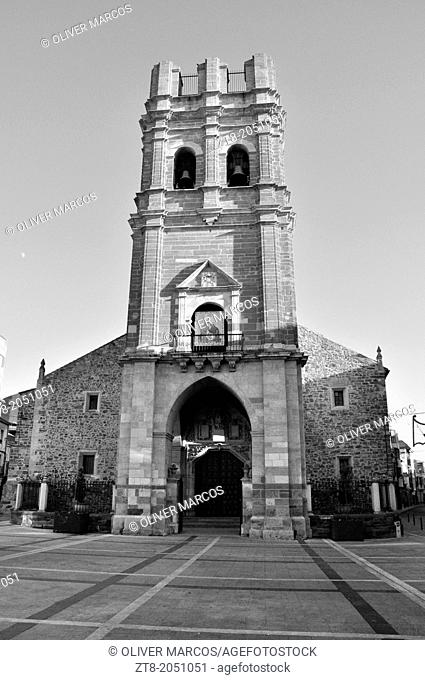 Church of Santa Maria, La Bañeza, Leon Province, Spain. In 1894 the wooden spire on the tower top was destroyed by a fire and never rebuilt