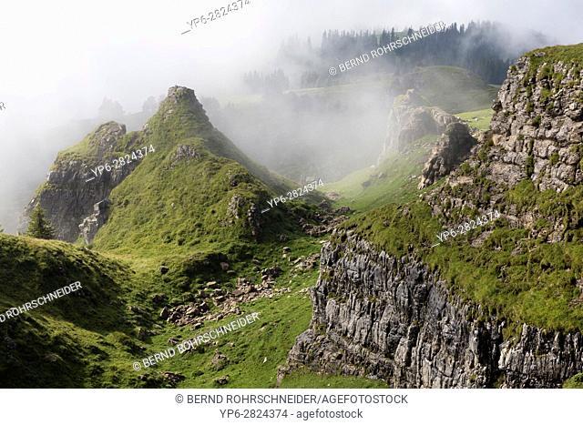 mountain landscape with fog, Niederhorn, Bernese Oberland, Switzerland