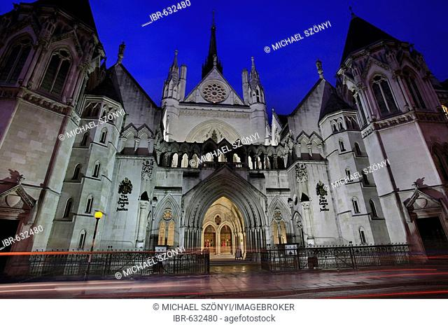 The Royal Courts of Justice on Strand / Fleet Street in the City of Westminster at Dusk, London, UK