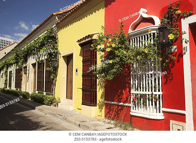 View to the colorful colonial buildings at the historic center, Cartagena de Indias, Bolivar Region, Colombia, South America