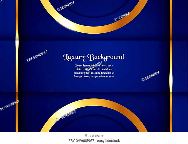 Abstract blue background in premium concept with golden border. Template design for cover, business presentation, web banner