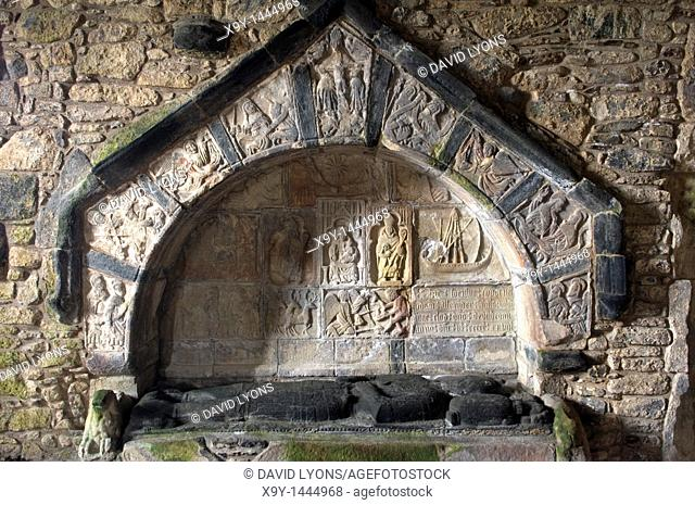 St  Clement's Church, Rodel, Isle of Harris, Hebrides, Scotland  Carved stone recumbent figure and tomb of Alexander MacLeod