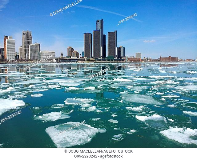 Spring ice breaking, Detroit skyline (no swimming sign, ship passing.), Windsor, Ontario, Canada