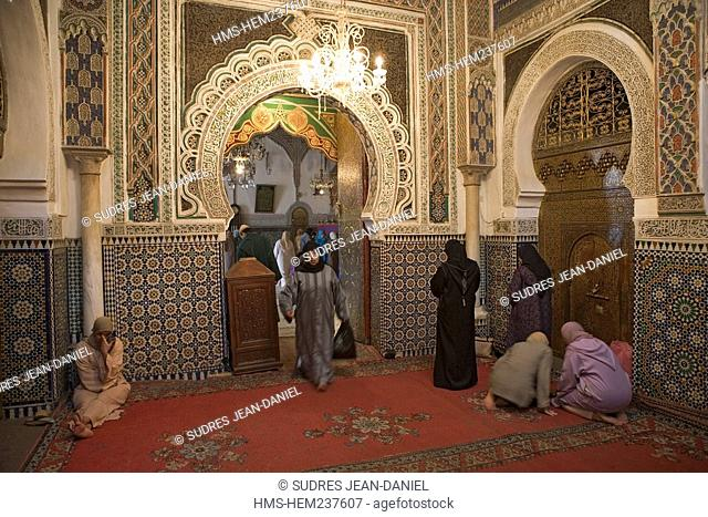 Morocco, Middle Atlas, Fez, Imperial City, Fez El Bali, medina listed as World Heritage by UNESCO, inside the Zaouia de Moulay Idriss