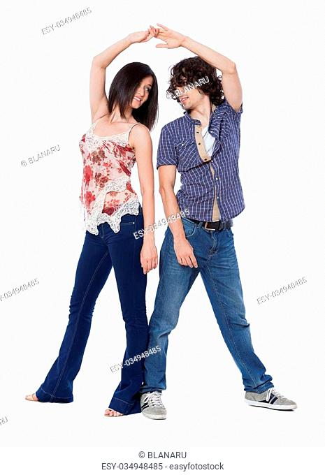 Social dance West Coast Swing. Demonstration of a back to back position. Front view