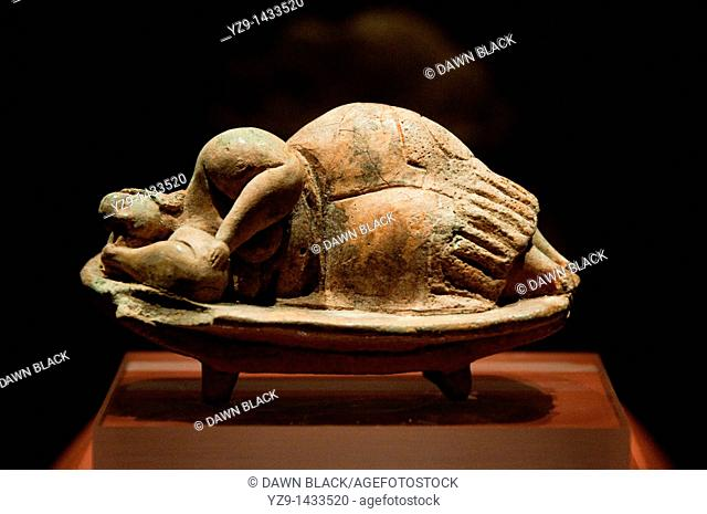 The small Sleeping Lady discovered in the Hypogeum, now housed in The Archeological Mueum, Valletta, Malta  Dating from around 3000BC