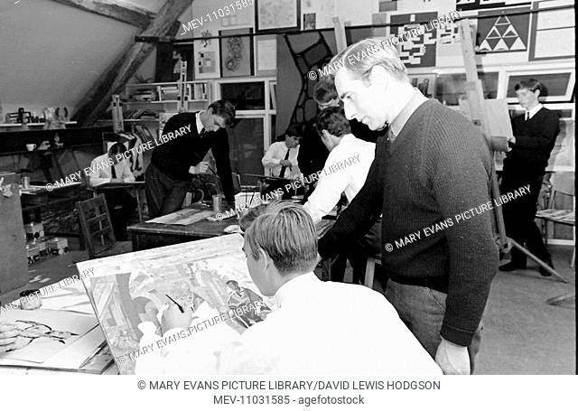 Schoolboys and teachers at work in an art class at Atlantic College (United World College of the Atlantic), St Donat's Castle, Llantwit Major, Glamorgan