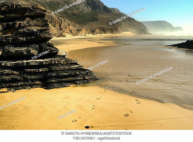 almost empty beach, Praia da Cordoama, Cordoama beach, near Vila Do Bispo, close to Sagres, Parque Natural do Sudoeste Alentejano e Costa Vicentina