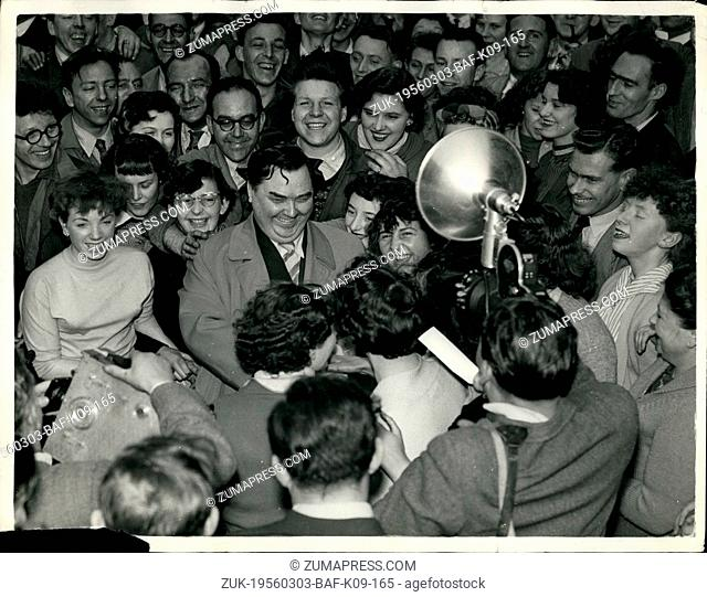 Mar. 03, 1956 - GIRLS WELCOME MR. MALENKOV - AT BIRMINGHAM. SOVIET MINISTER AT ELECTRICAL FACTORY. MR. GEORGI the Soviet Minister for Power Stations surrounds...