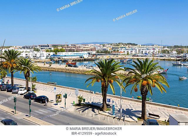Marina, harbour entrance, Lagos, Algarve, Portugal