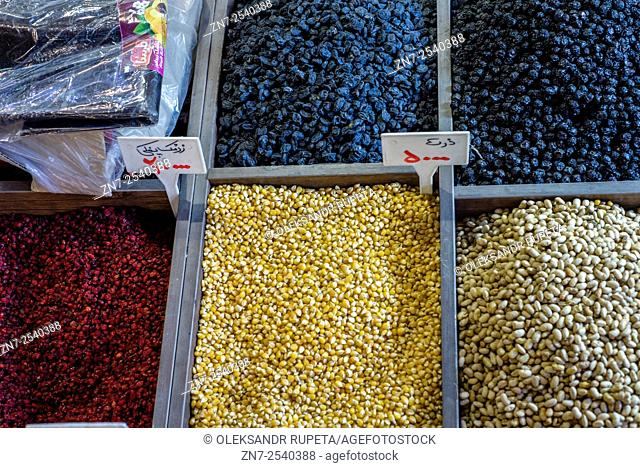 Dried fruit and nuts, Grand bazaar in Tehran, Iran