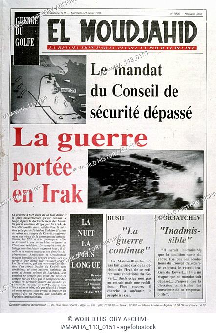 Headline in 'El Moudjahid' an official Algerian publication, 27th February 1991, concerning the retreat of Iraqi forces from Kuwait