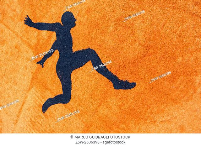 Stylized representation of a man in the moment of a jump