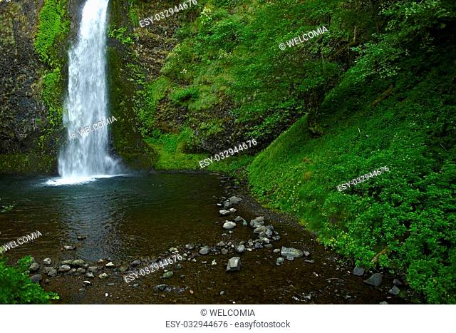 Mossy Waterfall Somewhere in Northern Oregon. Waterfalls Photo Collection