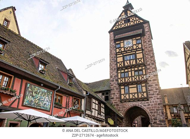 Riquewihr town on wine route Alsace known for the Riesling and other great wines on May 14, 2016 in Alsace, France. The old tower gate