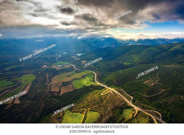 Aerial view of a valley, Àger, Montsec mountain range, pre-Pyrenees mountains, Lleida province, Catalonia, Spain