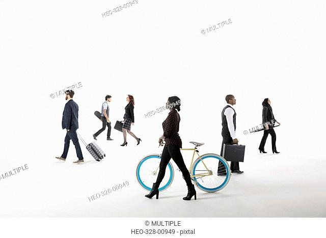 Business people commuting and traveling against white background