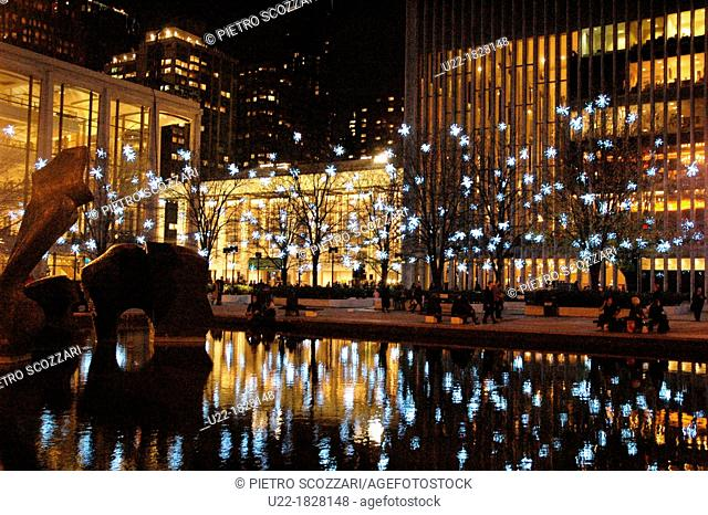 New York City, Christmas decorations at the Lincoln Center
