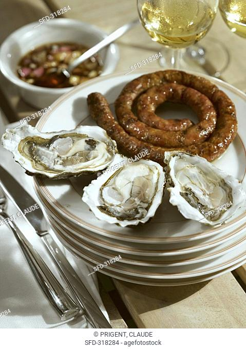 Coiled sausage with fresh oysters