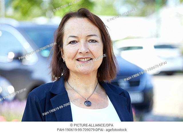 "19 June 2019, Hamburg: Anja van Niersen, CEO Allego, will be standing on the parking lot of the garden centre """"Garten von Ehren"""" in Harburg during the site..."