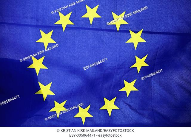 The EU flag with its twelve yellow stars