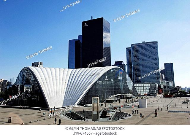 CNIT conference centre and modern office buildings in La Defense district, Paris, France