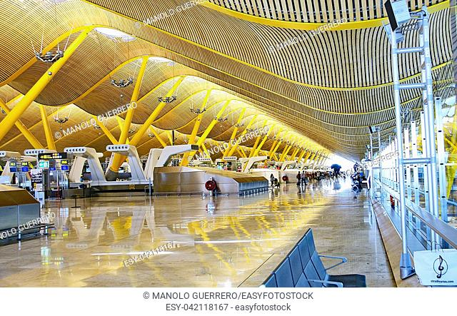 Terminal T4 of the Adolfo Suarez Airport in Madrid, Spain