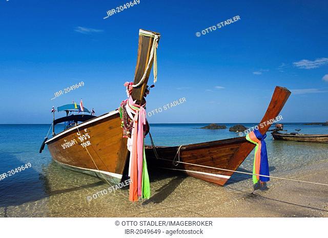 Longtail boats on the beach, Golden Pearl Beach, Ko Jum or Koh Pu island, Krabi, Thailand, Southeast Asia