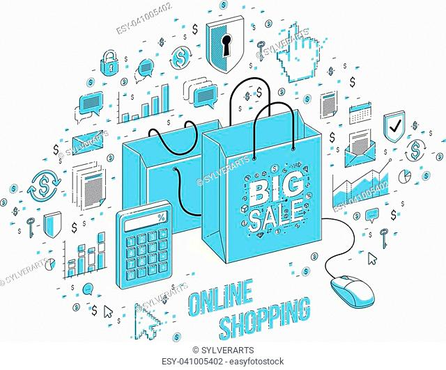 Online Shop concept, web store, internet sales, Shopping bag with pc mouse connected isolated on white. 3d vector business isometric illustration with icons