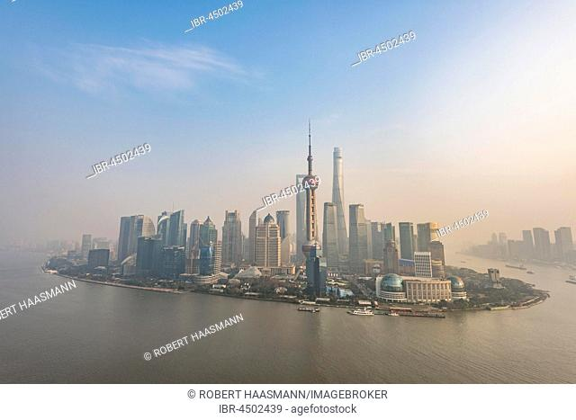 Skyline of Shanghai with Oriental Pearl Tower and Shanghai Tower, Pudong, Shanghai, China