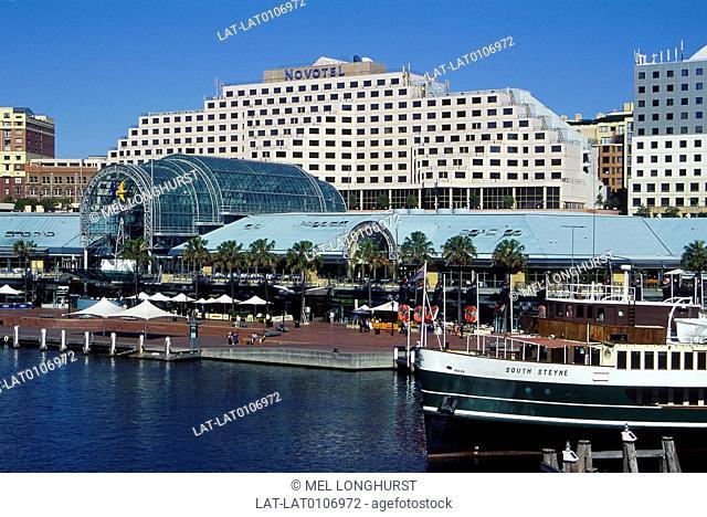 Darling harbour. Harbourside building. Modern glass cover. Novotel hotel facade