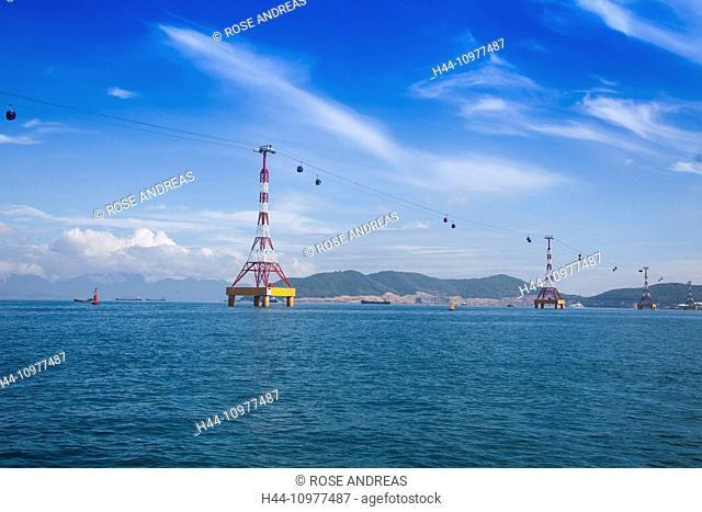 Vinpearl, island, Nha, Trang, South Vietnam, architecture, water, gondola, cable railway, transportation, Vietnam, Asia