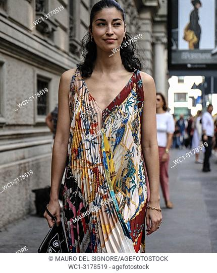 MILAN, Italy- September 22 2018: Caroline Issa on the street during the Milan Fashion Week