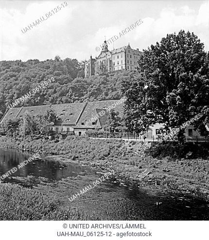 Ansicht von Schloß Osterstein in Gera, Deutschland 1930er Jahre. View to Osterstein castle at Gera, Germany 1930s
