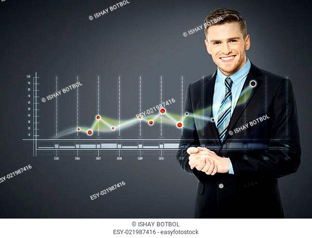 Smiling businessman and business strategy