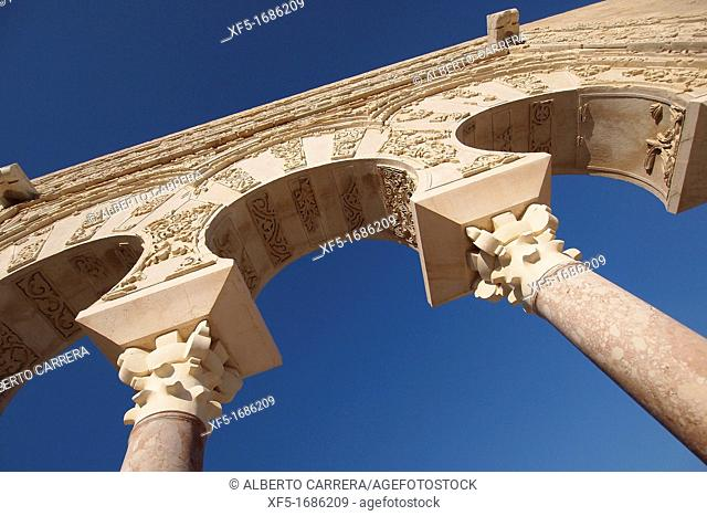 Madinat al-Zahra, Medina Azahara, Detail of the Ya' far Facade, Medieval Archaeological Complex, Córdoba, Andalusia, Spain, Europe
