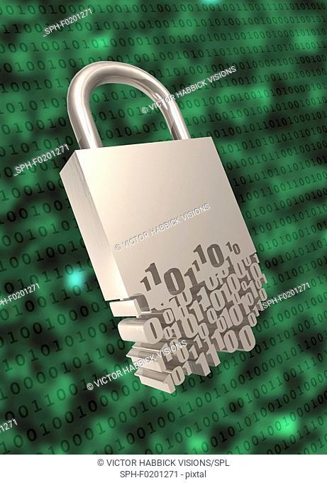 Padlock with binary code