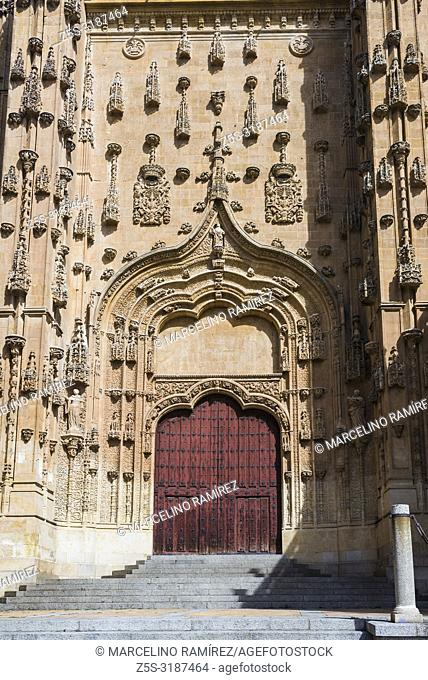 Patio Chico, with the gate of the south transept of the New Cathedral. Salamanca, Castilla y Leon, Spain, Europe