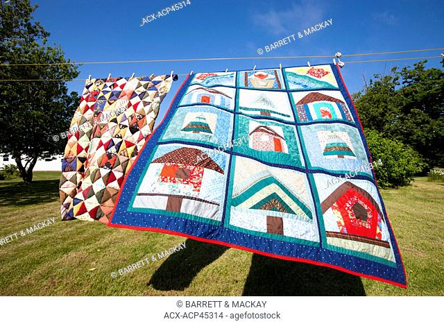 Quilt on clothes line, Alberton, Prince Edward Island, Canada