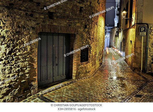 alley in the old town of Girona, Catalonia, Spain, Europe