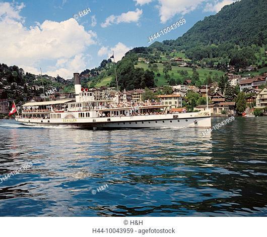 10043959, ship, paddle steamer, Switzerland, Europe, shimmer, go, fully, bank scenery, Vierwaldstättersee, lake Lucerne, lake, s